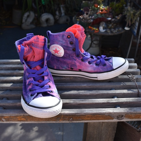 2a5c88b93d CONVERSE ALL STARS YOUTH TIE DYE LACE TONGUE SZ 5